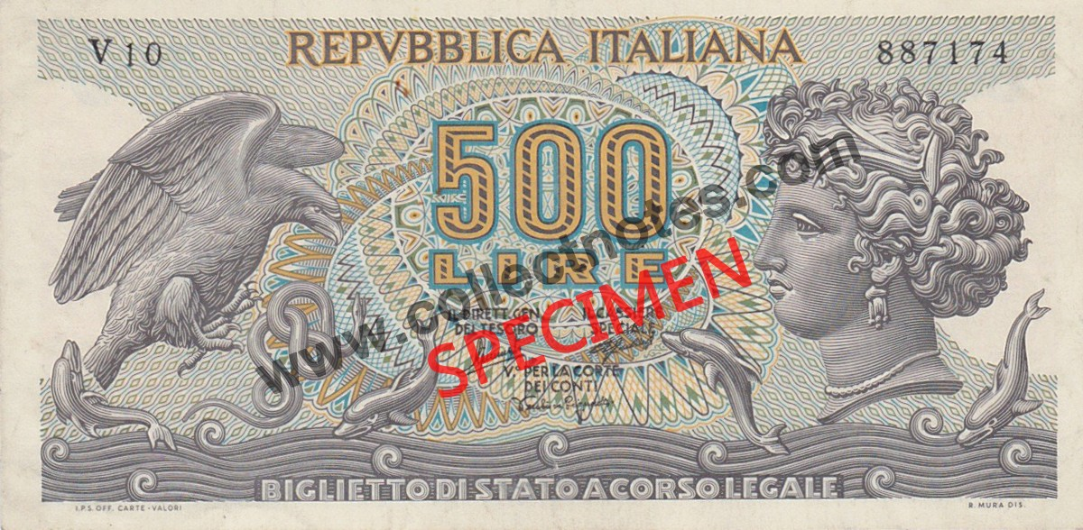 500 Lire 1966 Bank Note Italy AUNC