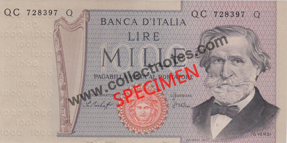 1000 Lire 1977 Bank Note Italy UNC