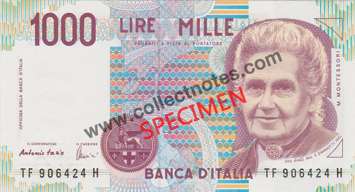 1000 Lire 1990 Bank Note Italy UNC