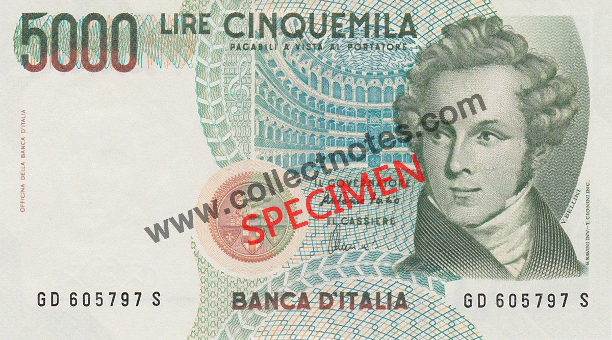 5000 Lire 1985 Bank Note Italy UNC