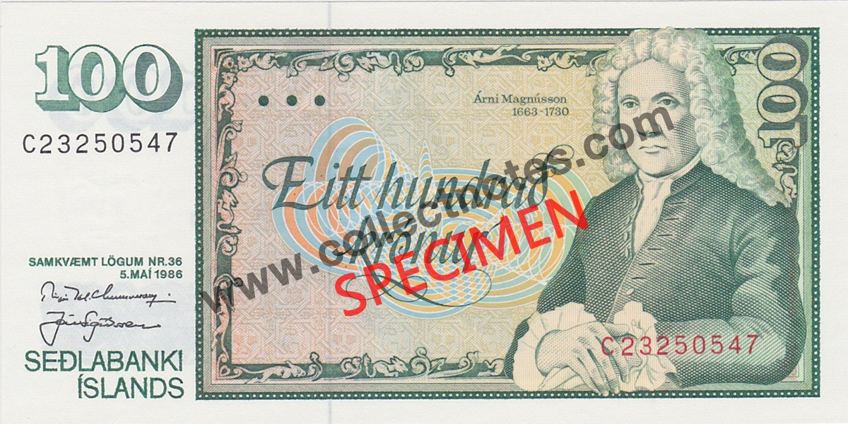 100 Kronur 1986 Bank Note Iceland UNC