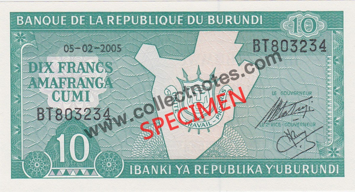 10 Francs 2005 Bank Note Burundi UNC