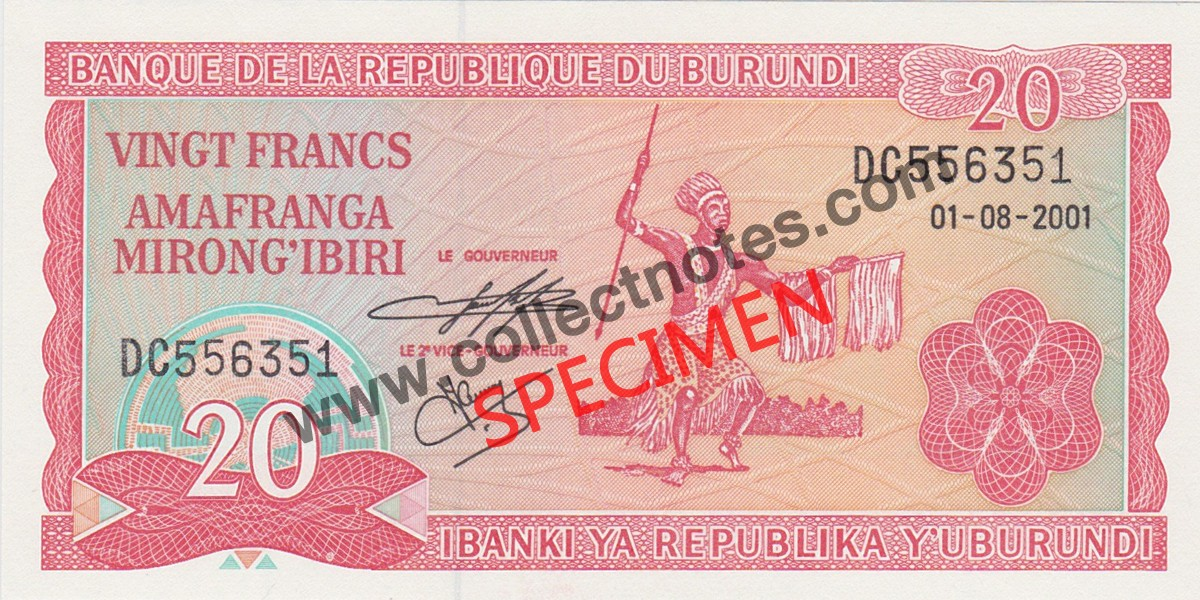 20 Francs 2001 Bank Note Burundi UNC