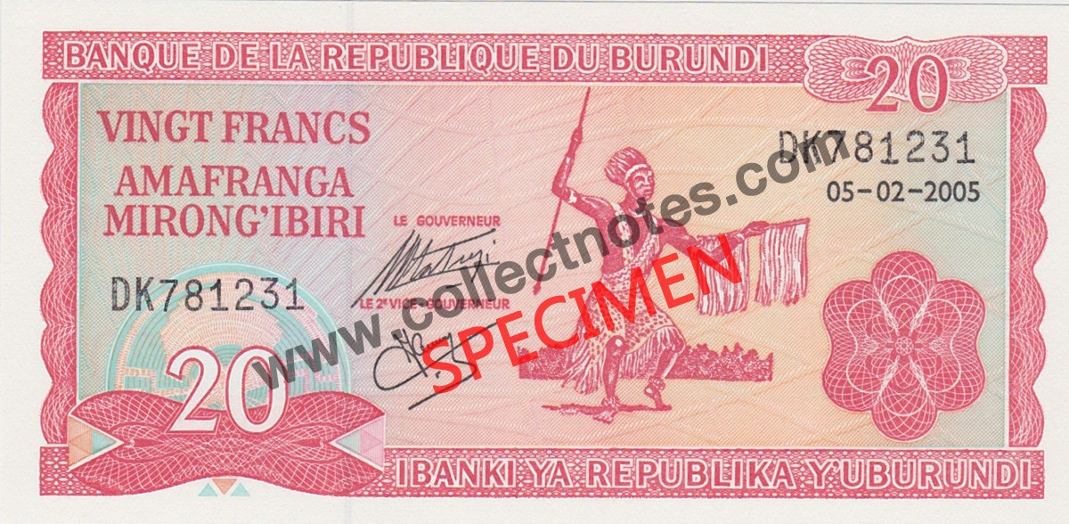 20 Francs 2005 Bank Note Burundi UNC