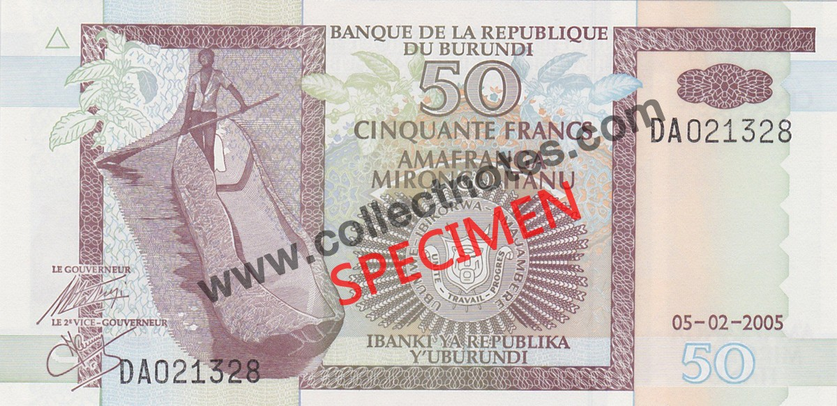 50 Francs 2005 Bank Note Burundi UNC