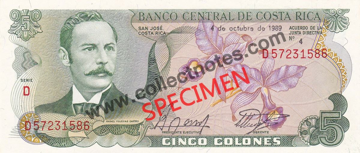 5 Colones 1989 Bank Note Costa Rica UNC