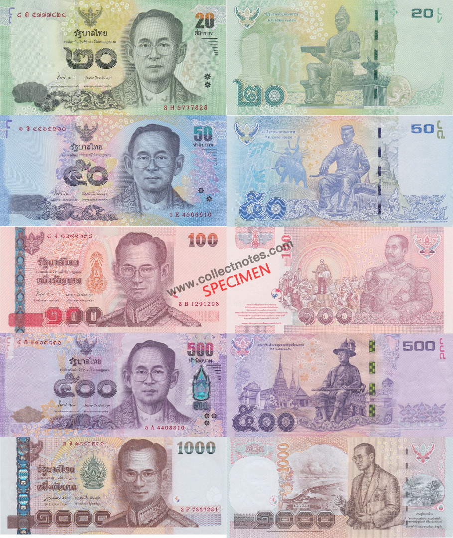 Thailand Exclusive New Full Set UNC 20 + 50 + 100 + 500 + 1000 Baht